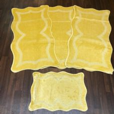 ROMANY WASHABLES NEW GYPSY SETS OF 4PC LEMON MATS NON SLIP TOURER SIZE RUGS